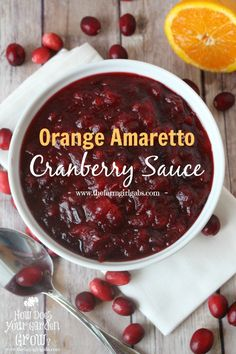 Orange Amaretto Cranberry Sauce - The perfect Thanksgiving dinner side dish. This is a delicious cranberry sauce recipe that is a perfect compliment to your turkey dinner.