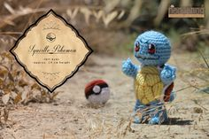 """Squirtle pokemon and pokeball amigurumi crochet toy, great for birthday gift. Created by """"Hedgehog - Amigurumi & Crafts""""."""