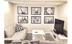 The Busy Budgeting Mama: Our IKEA Basement Makeover! A Kid-Friendly Adult Space  -- ikea frames, stapels print