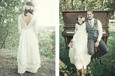 Hipster bride and groom with piano wedding photography. #Romantic Dress from an article on #Hipster Weddings