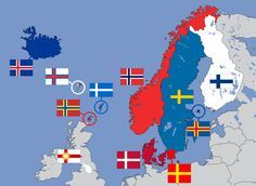 Nordic Cross Flags: From the top left, Iceland, Faroes, Orkneys, Shetlands, Norway, Sweden, Aland & Finland. From the bottom left, West Riding, Denmark & Skane. Estonia & Latvia also use the Nordic Cross on their flags but are generally considered Nordic