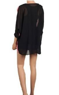 Asymmetric Colorblock Batwing Sleeve 2 Piece Top (Pink/Black) *Ships Free*