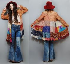 Take your favorite vintage shirt and add some patchwork to the bottom for a FABULOUS shirt coat-dress~~