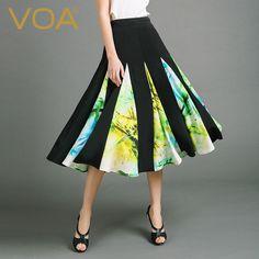 Find More Skirts Information about VOA 2016 autumn Europe new mosaic silk skirt female high waist stamp patchwork midi skirt C6771,High Quality skirt flower,China skirt fringe Suppliers, Cheap skirt hanger from VOA Flagship Shop on Aliexpress.com