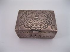 Lot 22 - Great Old Navajo Sterling Silver Box w Feet