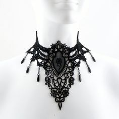 Gothic Large Black Lace Choker Necklace with Medallion, Rose Cameo, Chains & Spears - Fabric Jewelry for a Victorian Goth Darkness Queen