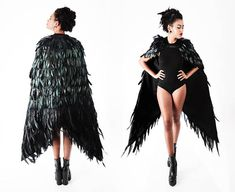 Black Swan Feather Wings Cape