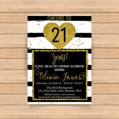 21th birthday invitation Black and white stripes by CoolStudio
