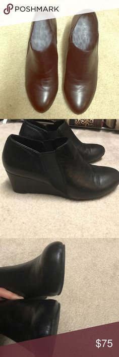 Vionic- black leather So comfortable as all Vionics are! True to size. Only worn a handful of times. The only signs of wear are two tiny marks near the front of each toe and natural creasing from light wear.  Motivated to sell and open to offers through the offer button. Vionic Shoes Ankle Boots & Booties
