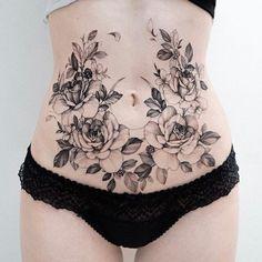 Lower Belly Tattoos, Stomach Tattoos Women, Tummy Tattoo, Abdomen Tattoo, Torso Tattoos, Body Art Tattoos, Hip Tattoos, Girly Tattoos, Badass Tattoos