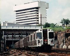 PATH train as I remember them from the 1970s the original model. As you can see, it's leaving Journal Square in Jersey City to it's destination: 33rd Street Station in NYC.