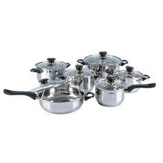 12-Piece Set: Jumbo Heavy Gauge Stainless Steel Cookware   Choxi.com