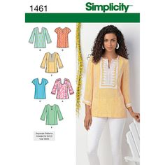 Simplicity Misses'' and Plus Size Tunic with Neckline and Sleeve Variations Pattern - Misses Blouse Top Patterns