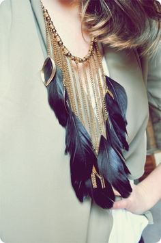 ☮ ßohemian ßabe | Boho Chic Statement Feather Necklace