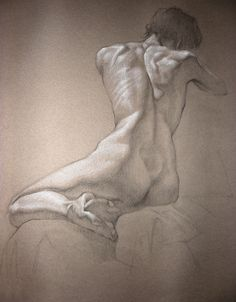 'Figure Drawing Professor' Black (pencil) and White (chalk) on toned paper by Perry Stewaet