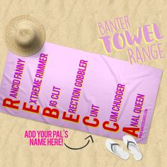 don't freak out but our towels are fucking amazing! Our towels are made from cotton and polyester. They're machine washable degrees & we promise no one will steal your sunbed with one of these bad boys! Customised Gifts, Winter Holidays, Beach Towel, Gifts For Him, Holiday Gifts, Towels, Best Gifts, Weather, Range