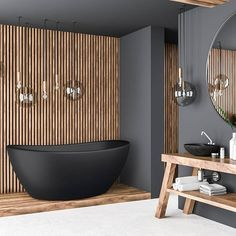 I like the sink design of solid wood, the combination of black and wood, and the transparent lights with black exteriors French Bathroom, Modern Bathroom, Shower Set, Glass Shower, Bungalow Bathroom, Vibeke Design, Fireclay Tile, Blue Towels, Kitchen Taps