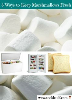 Three ways to keep marshmallows fresh after you've opened a bag to use in a cookie recipe but have not used them all. Baking Tips, Bread Baking, Baking Hacks, No Bake Snacks, No Bake Desserts, Fresher Tips, Domestic Goddess, Cookies Ingredients, Food Facts