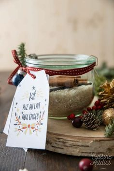 Kit riz au lait - Cadeaux gourmands pour Noël Place Cards, Place Card Holders, Kit, Gourmet Gifts, Customized Gifts, Rice Puddings, Canning Jars