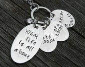 necklace with kids' names and birthdates