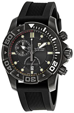 Victorinox Swiss Army Men's 241421 Dive Master Black Dial Watch - - Gunmetal stainless steel case with a black rubber bracelet. Black dial with luminous ha Brand Name Watches, Sport Watches, Casual Watches, Cool Watches, Men's Watches, Wrist Watches, Unique Watches, Scuba Diving Watches, Best Watch Brands