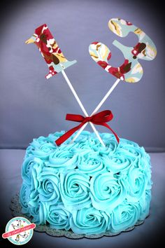 Teal/Turquoise rose cake for 13 year old.