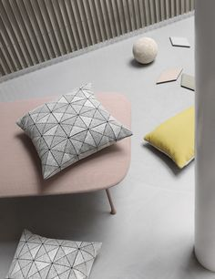 The pattern of the TILE cushion gives the impression of a three dimensional structure, which makes it an interesting and eye catching piece in any living room or lounge area.  http://www.muuto.com/accessories/tile