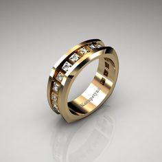 Mens 14K Yellow Gold Diamond Wedding Band G1016-14KYGD