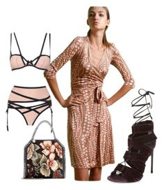 THE WAY I STRAP #tomford velvet sandals, #agentprovacteur undies and the nude rose color #florakung silk jersey wrapdress in pearl print.