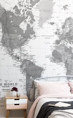 Black and White Map Wallpaper Mural World Map Wallpaper, Boys Wallpaper, Black And Grey Wallpaper, White Room Decor, Feature Wallpaper, Accent Wall Bedroom, White Walls, Monochrome, Wall Art