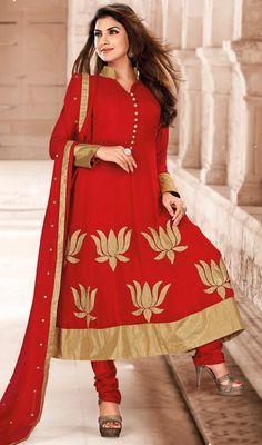 Crimson Faux Georgette Anarkali Suit Price: Usa Dollar $104, British UK Pound £61, Euro77, Canada CA$113 , Indian Rs5616.