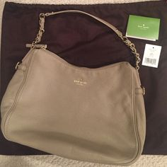 Kate Spade Finley Leather Shoulder Bag Only worn once and in excellent condition. Comes with dustbag. Color is in cobble hill oyster. kate spade Bags Shoulder Bags