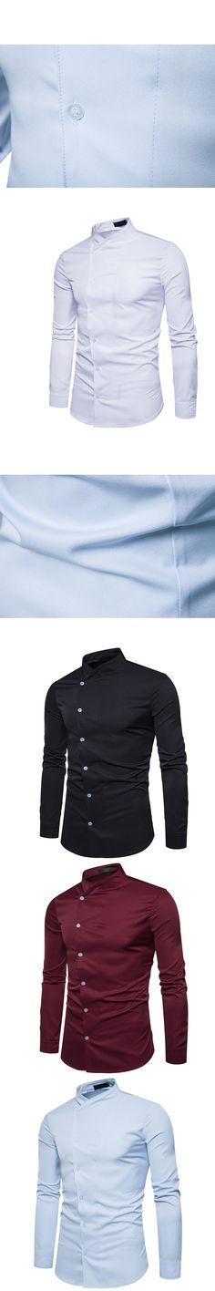 HOT 2017 fashion men's clothing coat collar shirt eveining business base shirt Oblique buttons shirt leisure long-sleeve shirts