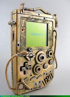 "What do you think of this steampunk gameboy? One of the commenters calls it ""gearpunk,"" which isn't true steampunk. Unfortunately there is no info about the artist or website of origin."