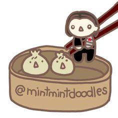 My favorite part about the weekend is having xiao long bao for lunch. Can we get a Bucky xiao long bao at Din Tai Fung?  #buckybarnes #chubbydumpling #wintersoldier #xiaolongbao #sebastianstan #mintmintdoodles
