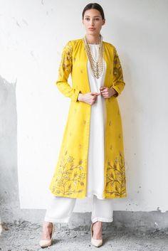 Buy Mustard & white satin cotton sequin & zari work ankle-length jacket with kurta & palazzo by Prathyusha Garimella at Aza Fashions Pakistani Dress Design, Pakistani Dresses, Indian Dresses, Indian Outfits, Indian Attire, Indian Wear, Kurta Designs Women, Blouse Designs, Dress Designs