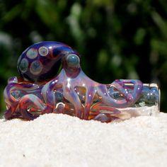 Octopus Dread Bead Blown Glass,