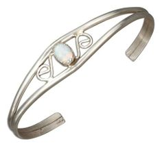 Sterling Silver Scrolled Lab Created White Opal Wire Cuff Bracelet 100Silver. $39.08