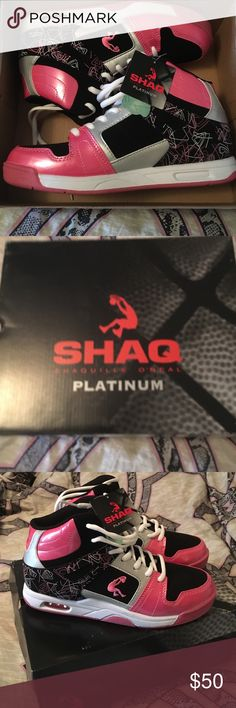 GREAT DEAL, only 20 dollars New in box with tags, Shaq Platinum high tops, girls size 4, women's size 5.5 to a 6. Only asking 20 dollars, only wore around the house. I'm just not a high top gal. My loss is your gain Shaq Shoes Athletic Shoes