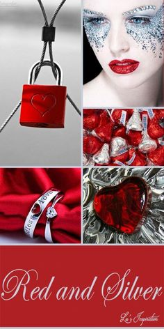 "Hi ladies. Next lets pin this color board of "" RED AND SILVER. Thank you and Happy Pinning ❤ Color Trends, Color Combinations, Silver Color Palette, Paint Color Schemes, Color Collage, Mood Colors, Colour Board, Color Pallets, Shades Of Red"