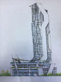 Conceptual Architecture, Architecture Concept Drawings, Futuristic Architecture, Facade Architecture, Architecture Unique, Building Concept, Mix Use Building, Building Design, Urban Design Concept