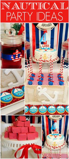 Check out this red, white and blue nautical first birthday party! See more party ideas at CatchMyParty.com!
