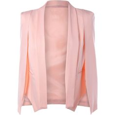 Slit Cape Sleeve Shawl Collar Blazer (100 RON) ❤ liked on Polyvore featuring outerwear, jackets, blazers, blazer, short-sleeve blazers, cape coat, shawl collar blazer, pink blazer jacket and blazer jacket