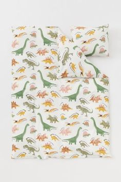 Patterned Duvet Cover Set - Natural white/dinosaurs - Home All   H&M US 3 Single Duvet Cover, Duvet Cover Sets, Washed Linen Duvet Cover, Lit Simple, Gift Card Shop, Cotton Curtains, H & M Home, Yellow Pattern, H&m Gifts