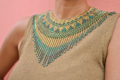 Gold, teal and multi green seed bead necklace Fringe Necklace, Seed Bead Necklace, Seed Bead Jewelry, Beaded Jewelry, Beaded Collar, Beaded Choker, Native Beadwork, Bijoux Diy, Bead Weaving