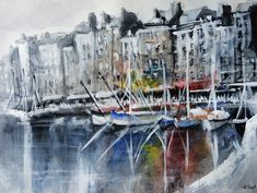 Boats painting - Watercolor and acrylic painting of boats in the port of Honfleur in French. By the French artist Nicolas Jolly, Contemporary painting. Boat Painting, Sketch Painting, Seaside Theme, Honfleur, Original Paintings For Sale, Boat Art, Beautiful Paintings, Cool Artwork, Watercolor Paintings