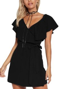 Black V-Neck Flounced Design Self-tie Waist Mini Dress