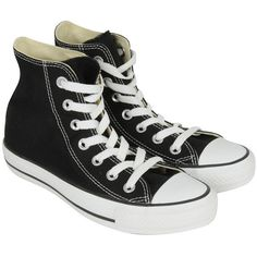 Converse Womens Black Classic High Top Sneaker ($30) ❤ liked on Polyvore featuring shoes, sneakers, converse, footwear, high top shoes, black hi top sneakers, converse shoes, black trainers and converse sneakers