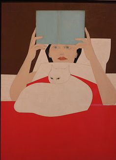 Drawing Woman Woman Reading - Will Barnet .reading in bed.snowy listening to the story. Art And Illustration, Illustrations, Crazy Cat Lady, Crazy Cats, Photo Chat, Woman Reading, Cat Reading, I Love Cats, Cat Art