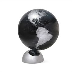 Black Ocean Globe - RENO Collection. Watch in amazement as the Black Ocean Globe rotates on its base with just a gentle spin of a finger. This globe depicts the continents in silver against a black ocean bringing stunning effect to any beholder. High-powered magnets cause the globe to 'float' and it's deigned to be easily detachable from its base. Then you can hold the world in your hand and have a closer look to geographical areas.
